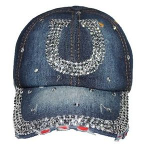 NEW! Bling Denim Rhinestone Horseshoe Cap